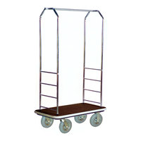 CSL 2000GY-020 Chrome Finish Bellman's Cart with Rectangular Brown Carpet Base, Gray Bumper, Clothing Rail, and 8 inch Gray Pneumatic Casters - 43 inch x 23 inch x 72 1/2 inch