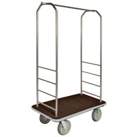CSL 2000GY-050 Chrome Finish Bellman's Cart with Rectangular Brown Carpet Base, Gray Bumper, Clothing Rail, and 8 inch Gray Polyurethane Casters - 43 inch x 23 inch x 72 1/2 inch
