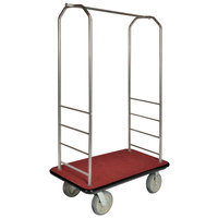 CSL 2000BK-050 Chrome Finish Bellman's Cart with Rectangular Red Carpet Base, Black Bumper, Clothing Rail, and 8 inch Gray Polyurethane Casters - 43 inch x 23 inch x 72 1/2 inch