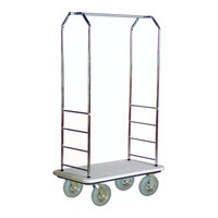 CSL 2000GY-020 Chrome Finish Bellman's Cart with Rectangular Gray Carpet Base, Gray Bumper, Clothing Rail, and 8 inch Gray Pneumatic Casters - 43 inch x 23 inch x 72 1/2 inch