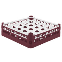 Vollrath 52710 Signature Full-Size Burgundy 25-Compartment 4 5/16 inch Medium Glass Rack