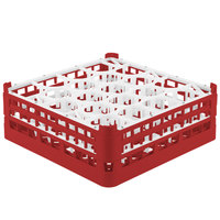 Vollrath 52704 Signature Lemon Drop Full-Size Red 20-Compartment 6 1/4 inch Tall Plus Glass Rack