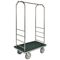 CSL 2000GY-050 Chrome Finish Bellman's Cart with Rectangular Green Carpet Base, Gray Bumper, Clothing Rail, and 8 inch Gray Polyurethane Casters - 43 inch x 23 inch x 72 1/2 inch