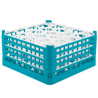 Vollrath 52709 Signature Lemon Drop Full-Size Light Blue 20-Compartment 9 1/16 inch XX-Tall Plus Glass Rack