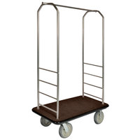 CSL 2000BK-050 Chrome Finish Bellman's Cart with Rectangular Brown Carpet Base, Black Bumper, Clothing Rail, and 8 inch Gray Polyurethane Casters - 43 inch x 23 inch x 72 1/2 inch