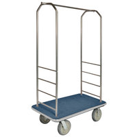 CSL 2000GY-040 Chrome Finish Bellman's Cart with Rectangular Blue Carpet Base, Gray Bumper, Clothing Rail, and 5 inch Gray Polyurethane Casters - 43 inch x 23 inch x 72 1/2 inch