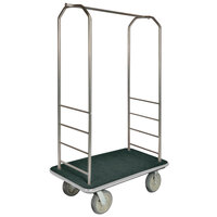 CSL 2000GY-040 Chrome Finish Bellman's Cart with Rectangular Green Carpet Base, Gray Bumper, Clothing Rail, and 5 inch Gray Polyurethane Casters - 43 inch x 23 inch x 72 1/2 inch