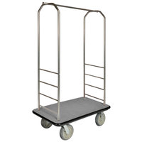 CSL 2000BK-050 Chrome Finish Bellman's Cart with Rectangular Gray Carpet Base, Black Bumper, Clothing Rail, and 8 inch Gray Polyurethane Casters - 43 inch x 23 inch x 72 1/2 inch