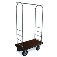 CSL 2000BK-010 Chrome Finish Bellman's Cart with Rectangular Brown Carpet Base, Black Bumper, Clothing Rail, and 8 inch Black Pneumatic Casters - 43 inch x 23 inch x 72 1/2 inch