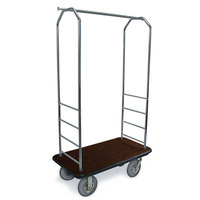 CSL 2000BK-020 Chrome Finish Bellman's Cart with Rectangular Brown Carpet Base, Black Bumper, Clothing Rail, and 8 inch Gray Pneumatic Casters - 43 inch x 23 inch x 72 1/2 inch