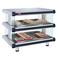 Hatco GR2SDH-54D White Granite Glo-Ray Designer 54 inch Horizontal Double Shelf Merchandiser