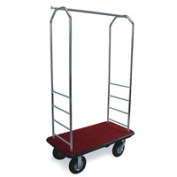 CSL 2000BK-010 Chrome Finish Bellman's Cart with Rectangular Red Carpet Base, Black Bumper, Clothing Rail, and 8 inch Black Pneumatic Casters - 43 inch x 23 inch x 72 1/2 inch