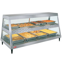 Hatco GRHDH-4PD Stainless Steel Glo-Ray 59 3/8 inch Full Service Dual Shelf Merchandiser with Humidity Chamber