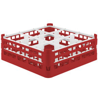 Vollrath 52728 Signature Full-Size Red 9-Compartment 5 11/16 inch Tall Glass Rack