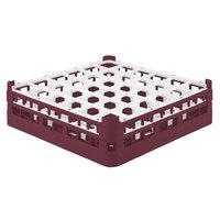 Vollrath 52714 Signature Full-Size Burgundy 36-Compartment 4 5/16 inch Medium Glass Rack