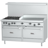 Garland G48-4G24LL Natural Gas 4 Burner 48 inch Range with 24 inch Griddle and 2 Space Saver Ovens - 232,000 BTU