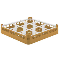 Vollrath 52726 Signature Full-Size Gold 9-Compartment 2 13/16 inch Short Glass Rack
