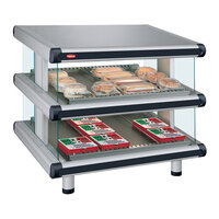 Hatco GR2SDS-42D White Granite Glo-Ray Designer 42 inch Slanted Double Shelf Merchandiser