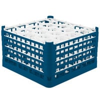 Vollrath 52754 Signature Lemon Drop Full-Size Royal Blue 20-Compartment 9 15/16 inch XXX-Tall Glass Rack