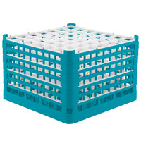 Vollrath 52740 Signature Full-Size Light Blue 49-Compartment 11 3/8 inch XXXX-Tall Glass Rack