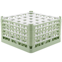 Vollrath 52733 Signature Full-Size Light Green 25-Compartment 9 15/16 inch XXX-Tall Glass Rack