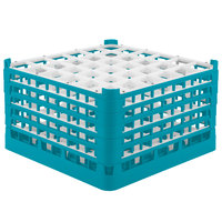 Vollrath 52734 Signature Full-Size Light Blue 36-Compartment 9 15/16 inch XXX-Tall Glass Rack