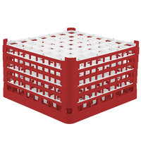 Vollrath 52735 Signature Full-Size Red 49-Compartment 9 15/16 inch XXX-Tall Glass Rack