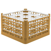 Vollrath 52731 Signature Full-Size Gold 9-Compartment 9 15/16 inch XXX-Tall Glass Rack