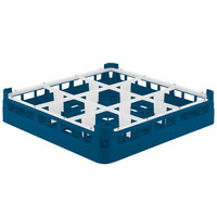 Vollrath 5276077 Signature Full-Size Royal Blue 9-Compartment 3 1/4 inch Short Plus Glass Rack