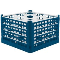 Vollrath 52736 Signature Full-Size Royal Blue 9-Compartment 11 3/8 inch XXXX-Tall Glass Rack