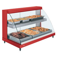 Hatco GRCD-3PD Red 45 inch Glo-Ray Full Service Double Shelf Merchandiser - 120V, 1710W