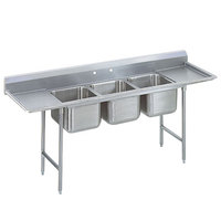 Advance Tabco 93-83-60-24RL Regaline Three Compartment Stainless Steel Sink with Two Drainboards - 115 inch