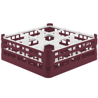 Vollrath 52762 Signature Full-Size Burgundy 9-Compartment 6 1/4 inch Tall Plus Glass Rack