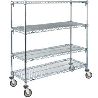 Metro A356EC Super Adjustable Chrome 4 Tier Mobile Shelving Unit with Polyurethane Casters - 18 inch x 48 inch x 69 inch