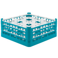 Vollrath 52763 Signature Full-Size Light Blue 9-Compartment 7 11/16 inch X-Tall Plus Glass Rack