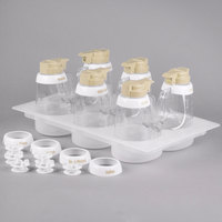 Tablecraft 484 48 oz. Beige ABS Top Clear Salad Dressing Dispenser Set