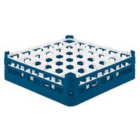 Vollrath 52779 Signature Full-Size Royal Blue 36-Compartment 4 13/16 inch Medium Plus Glass Rack