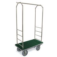 CSL 2099GY-020 Stainless Steel Finish Bellman's Cart with Rectangular Green Carpet Base, Gray Bumper, Clothing Rail, and 8 inch Gray Pneumatic Casters - 43 inch x 23 inch x 72 1/2 inch