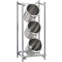 Cal-Mil 1134-74 Silver One By One Three Compartment Metal Silverware Holder - 7 1/2 inch x 6 1/2 inch x 17 3/4 inch