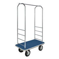 CSL 2099GY-010 Stainless Steel Finish Bellman's Cart with Rectangular Blue Carpet Base, Gray Bumper, Clothing Rail, and 8 inch Black Pneumatic Casters - 43 inch x 23 inch x 72 1/2 inch