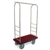 CSL 2099BK-020 Stainless Steel Finish Bellman's Cart with Rectangular Red Carpet Base, Black Bumper, Clothing Rail, and 8 inch Gray Pneumatic Casters - 43 inch x 23 inch x 72 1/2 inch