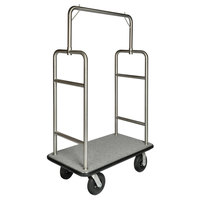 CSL 2599BK-010-GRY Stainless Steel Finish Heavy Duty Bellman's Cart with Rectangular Gray Carpet Base, Black Bumper, Squared Top Clothing Rail, and 8 inch Black Pneumatic Casters - 44 inch x 24 inch x 69 inch