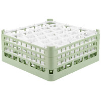Vollrath 52832 Signature Lemon Drop Full-Size Light Green 30-Compartment 7 1/8 inch X-Tall Glass Rack