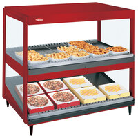 Hatco GRSDS/H-36D Warm Red Glo-Ray 36 inch Horizontal / Slanted Double Shelf Merchandiser