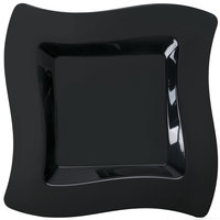 Fineline Wavetrends 108-BK 8 inch Black Plastic Square Plate - 10 / Pack