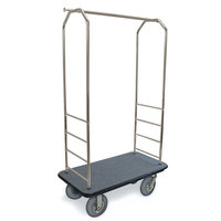 CSL 2099BK-020 Stainless Steel Finish Bellman's Cart with Rectangular Gray Carpet Base, Black Bumper, Clothing Rail, and 8 inch Gray Pneumatic Casters - 43 inch x 23 inch x 72 1/2 inch