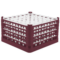 Vollrath 52789 Signature Full-Size Burgundy 49-Compartment 10 9/16 inch XXX-Tall Plus Glass Rack