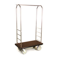 CSL 2099BK-050 Stainless Steel Finish Bellman's Cart with Rectangular Brown Carpet Base, Black Bumper, Clothing Rail, and 8 inch Gray Polyurethane Casters - 43 inch x 23 inch x 72 1/2 inch