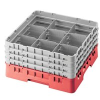Cambro 9S318163 Red Camrack 9 Compartment 3 5/8 inch Glass Rack