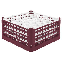 Vollrath 52846 Signature Lemon Drop Full-Size Burgundy 30-Compartment 9 1/16 inch XX-Tall Plus Glass Rack
